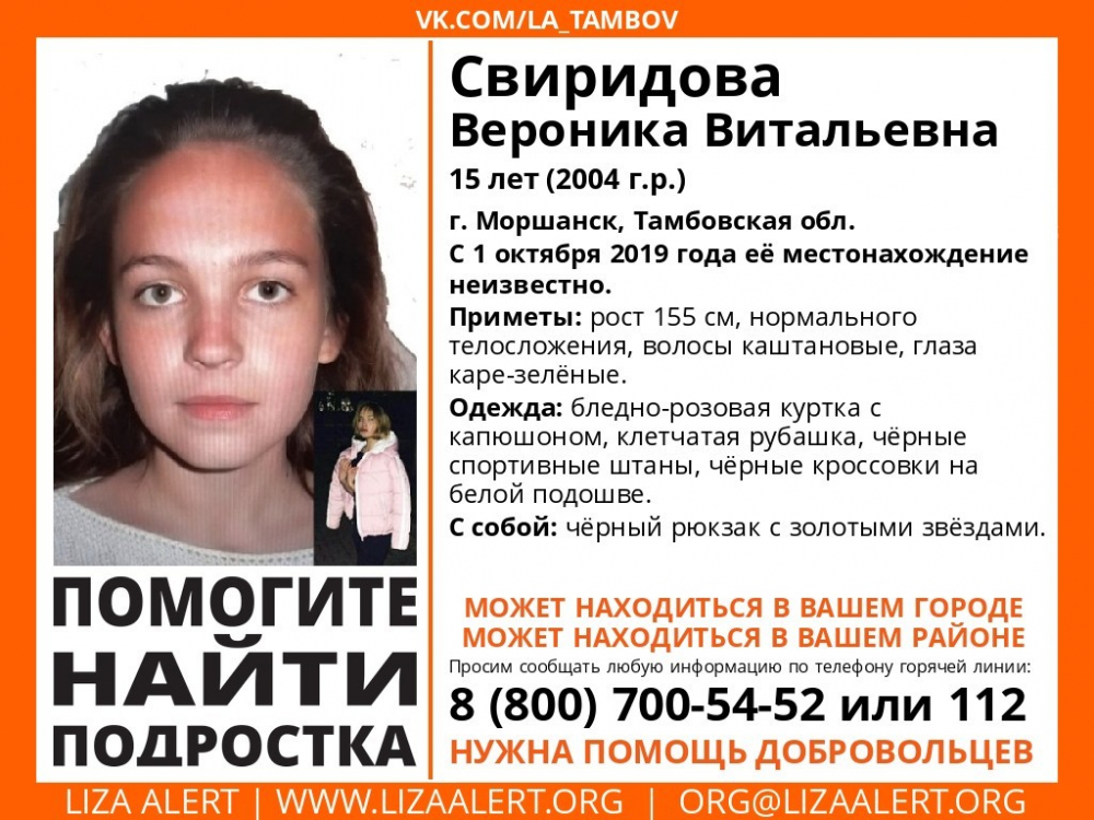 Пропавшую 15-летнюю девочку разыскивают в Тамбовской области