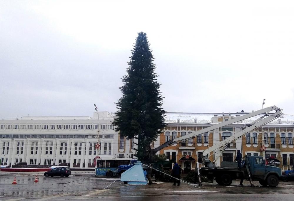 Главную ёлку города собрали на площади Ленина