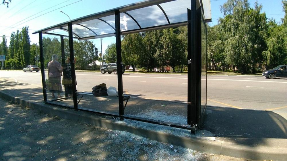 Антивандальное стекло не выдержало бутылочной атаки: еще одна остановка в Тамбове разбита хулиганами