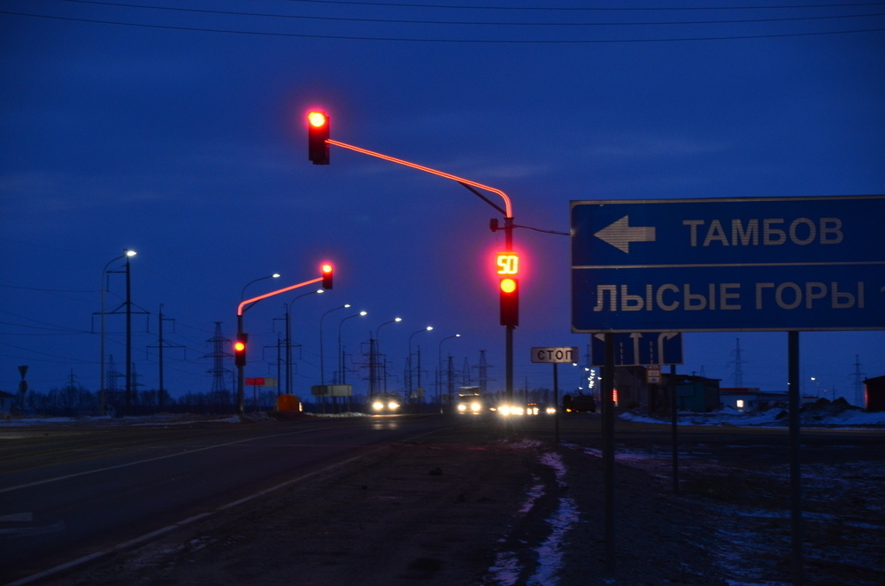 На Северном обходе Тамбова столб включился в регулировку движения