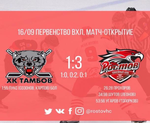 Проигрышем тамбовчан закончился матч-открытие нового сезона Высшей хоккейной лиги